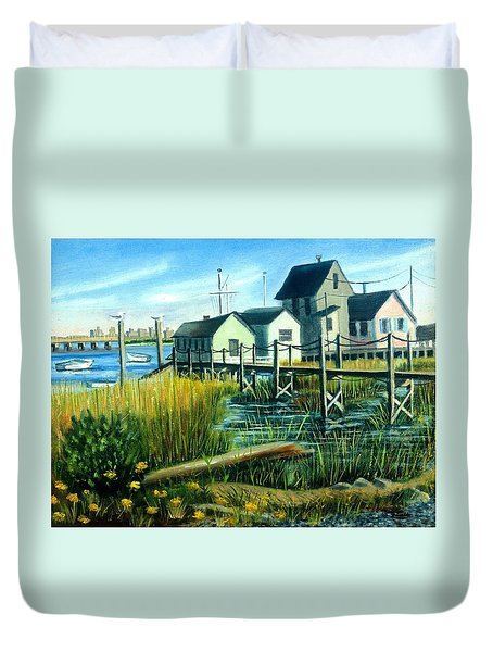 High Tide In Broad Channel, N.y. Duvet Cover