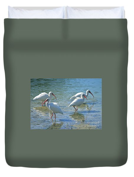 Four Ibises Duvet Cover by Carol Groenen