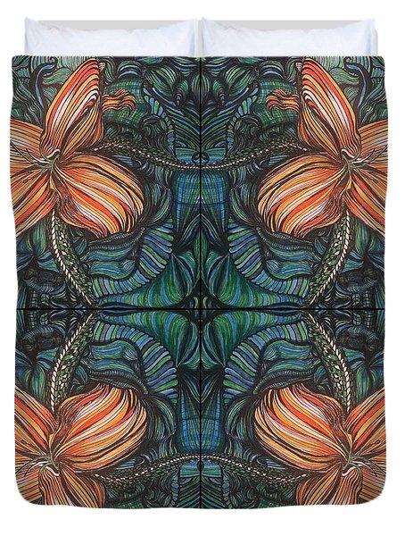 Four Lilies Leaf To Leaf Duvet Cover