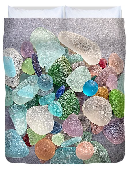 Four Marbles And A Rainbow Of Beach Glass Duvet Cover