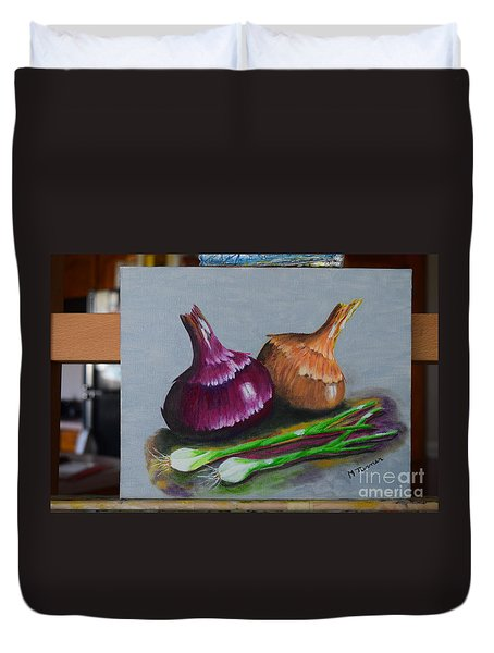 Duvet Cover featuring the painting Four Onions by Melvin Turner