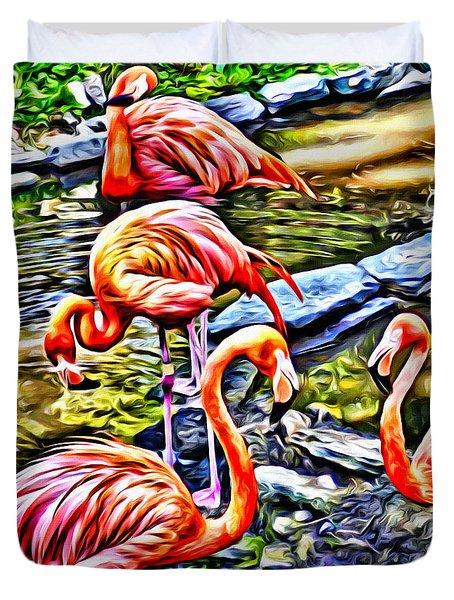 Four Pink Flamingos Duvet Cover