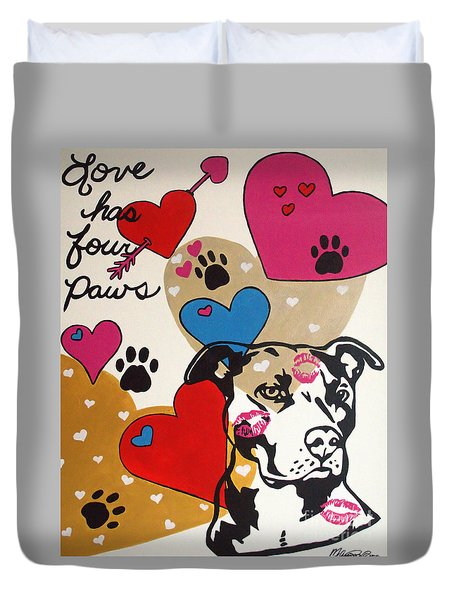 Four Pitty Paws Duvet Cover by Melissa Goodrich