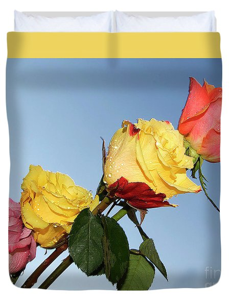Duvet Cover featuring the photograph Four Roses by Elvira Ladocki