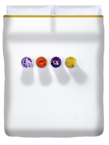 Four Small Containers Of Paint Duvet Cover
