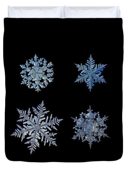 Four Snowflakes On Black Background Duvet Cover by Alexey Kljatov