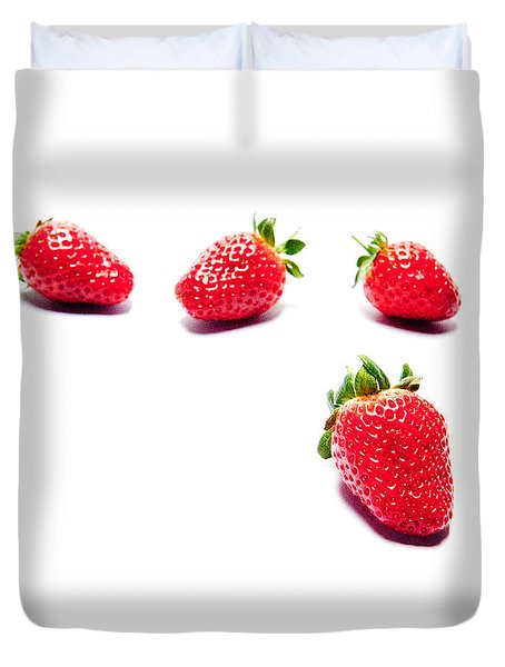 Four Strawberries Duvet Cover