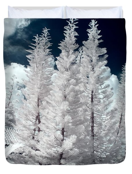 Four Tropical Pines Infrared Duvet Cover