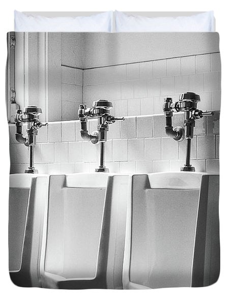 Four Urinals In A Row Bw Duvet Cover