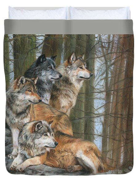 Duvet Cover featuring the painting Four Wolves by David Stribbling