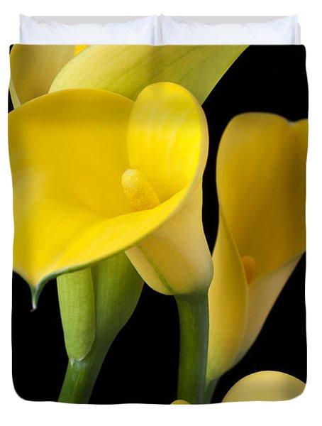 Four Yellow Calla Lilies Duvet Cover