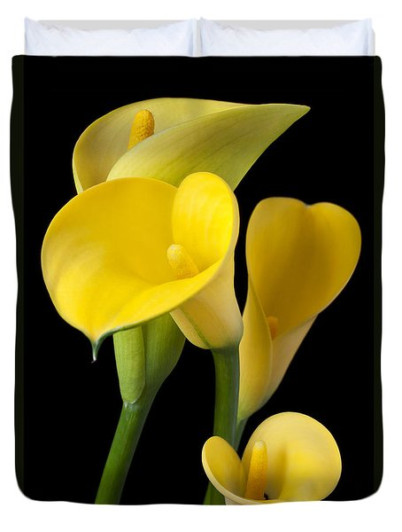 Four Yellow Calla Lilies Duvet Cover by Garry Gay