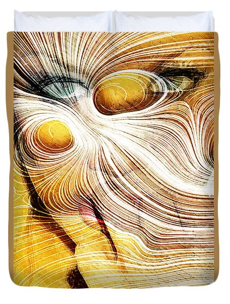 Four Yellow Eyes Duvet Cover by Andrea Barbieri