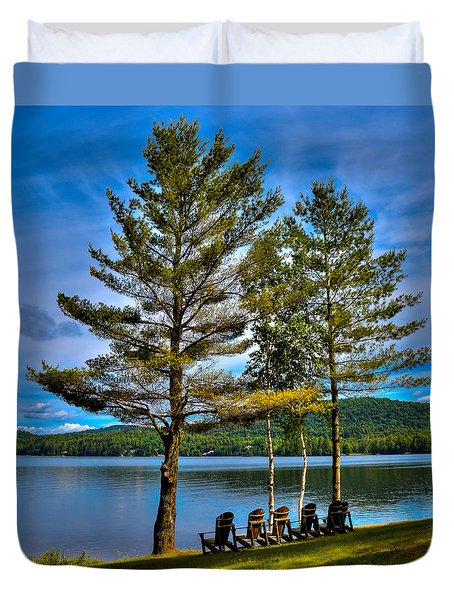 Fourth Lake At The Woods Inn Duvet Cover by David Patterson