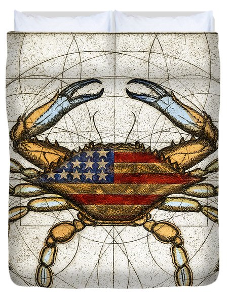 Fourth Of July Crab Duvet Cover