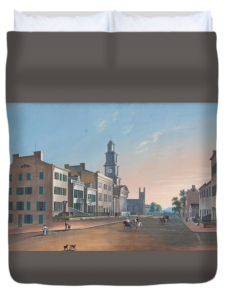 Duvet Cover featuring the painting Fourth Street. West From Vine by John Caspar Wild
