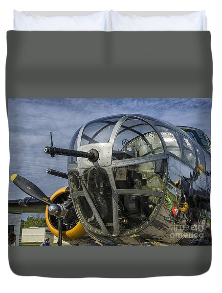 Foward Gunner B-25 Duvet Cover by JRP Photography