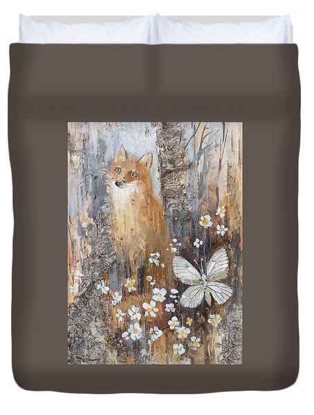Fox And Butterfly Duvet Cover
