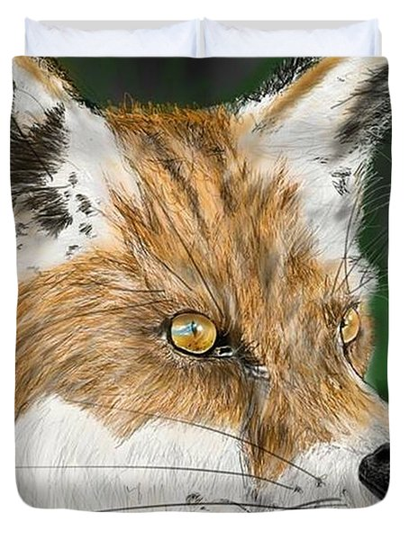 Duvet Cover featuring the digital art Fox by Darren Cannell