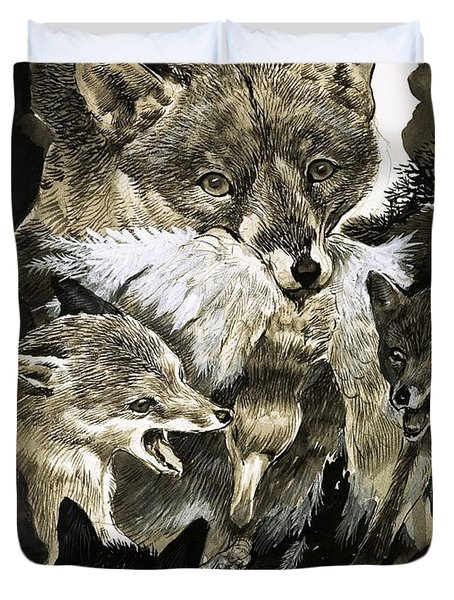 Fox Delivering Food To Its Cubs  Duvet Cover by English School
