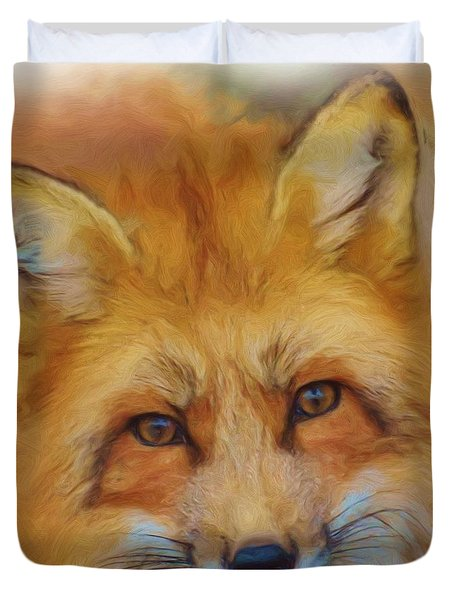 Fox Face Taken From Watercolour Painting Duvet Cover