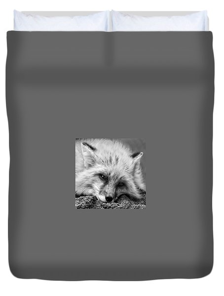 Duvet Cover featuring the photograph Fox Head Black And White Square Format by Laurinda Bowling