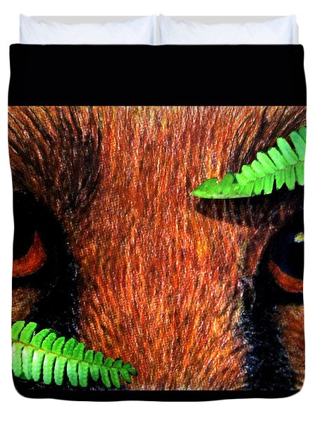 Fox In Hiding Duvet Cover by Angela Davies