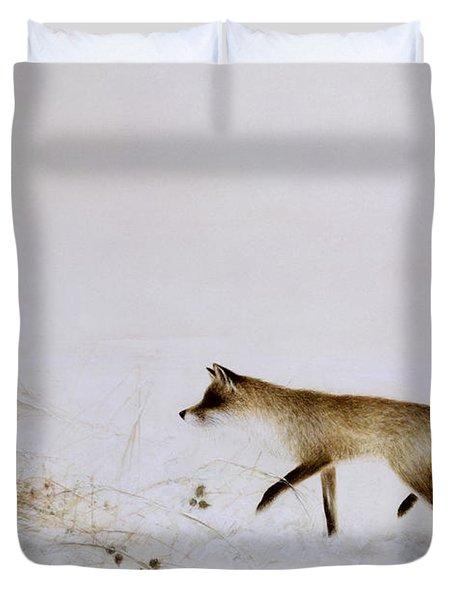 Fox In Snow Duvet Cover by Jane Neville