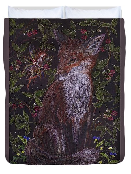 Fox In The Berry Bushes Duvet Cover
