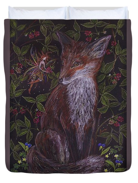 Fox In The Raspberries Duvet Cover