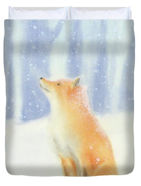 Duvet Cover featuring the painting Fox In The Snow by Taylan Apukovska