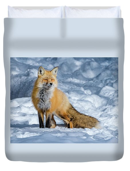 Fox On A Winter Afternoon Duvet Cover