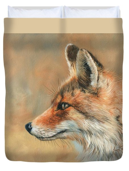 Duvet Cover featuring the painting Fox Portrait by David Stribbling