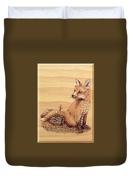 Fox Pup Duvet Cover by Ron Haist