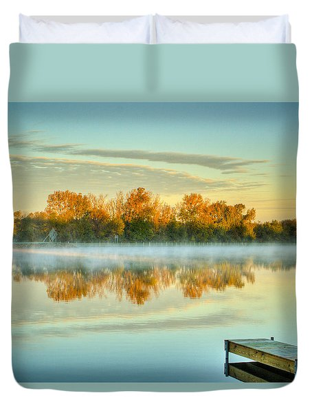 Fox River Above Mchenry Dam At Sunrise Duvet Cover