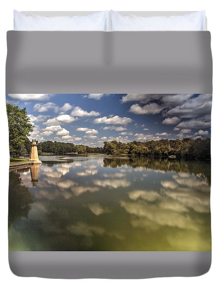 Fox River Lighthouse Geneva Illinois Duvet Cover
