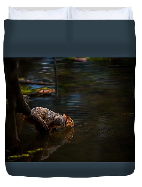 Fox Squirrel Drinking Duvet Cover