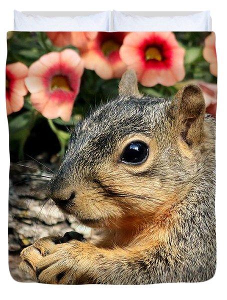 Fox Squirrel Portrait Duvet Cover