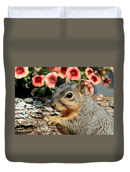 Fox Squirrel Portrait Duvet Cover