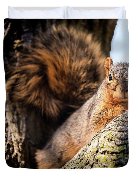 Fox Squirrel Watching Me Duvet Cover