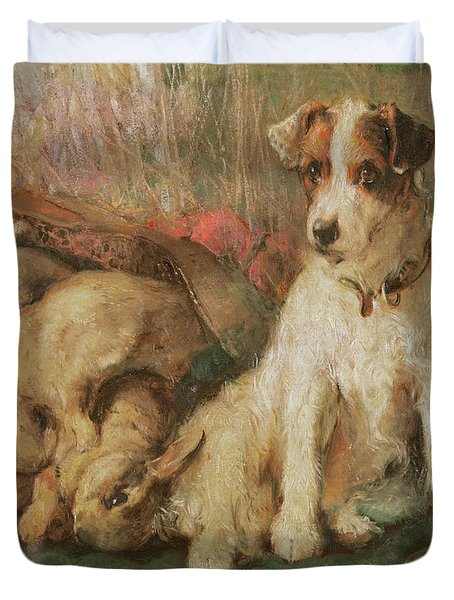 Fox Terrier With The Day's Bag Duvet Cover by English School