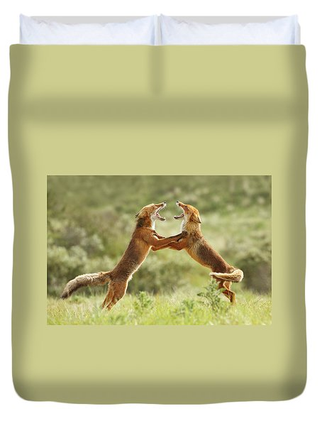 Fox Trot - Red Foxes Fighting Duvet Cover