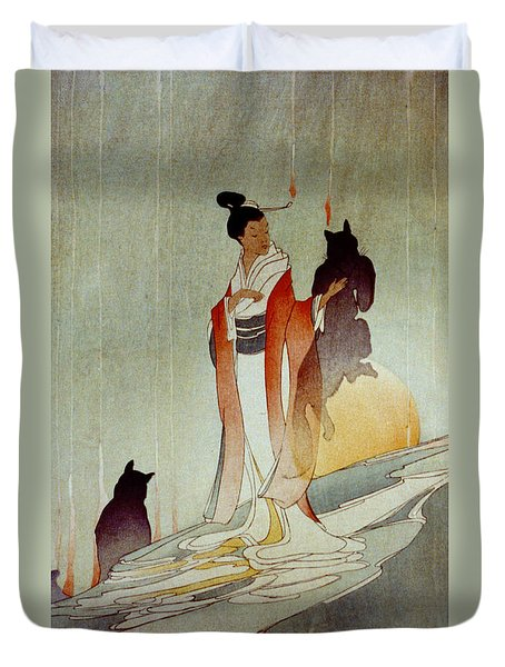 Duvet Cover featuring the photograph Fox Woman 1912 by Padre Art