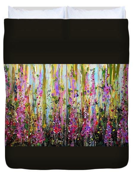 Foxgloves Large Painting Duvet Cover