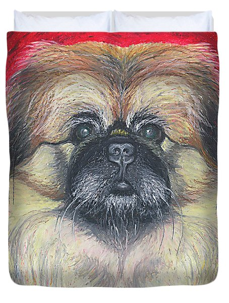 Duvet Cover featuring the pastel Fozy Bear Pekingese by Ania M Milo