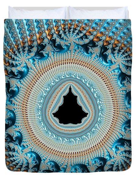 Fractal Art Crochet Style Blue And Gold Duvet Cover