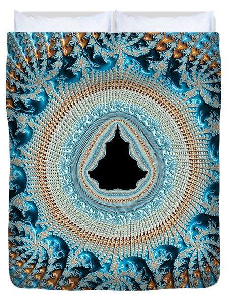Fractal Art Crochet Style Blue And Gold Duvet Cover by Matthias Hauser