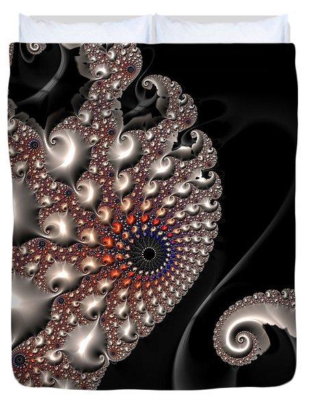Duvet Cover featuring the digital art Fractal Contact - Silver Copper Black by Matthias Hauser