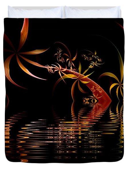 Fractal Fireworks Reflections Duvet Cover