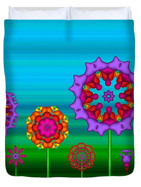 Whimsical Fractal Flower Garden Duvet Cover